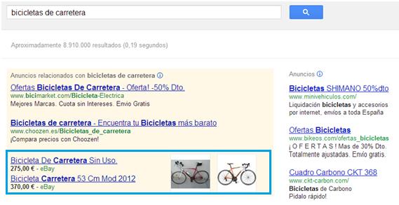 Anuncios ficha de producto bicis como anuncios de búsqueda