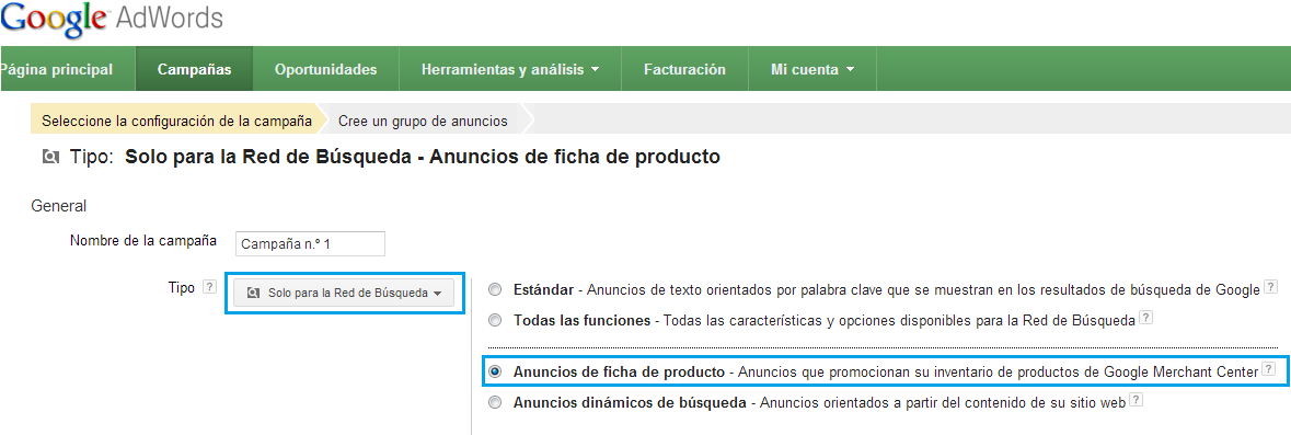 Interfaz Adwords