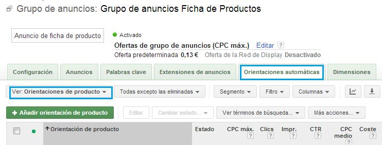 Orientaciones automáticas Google Merchant Center