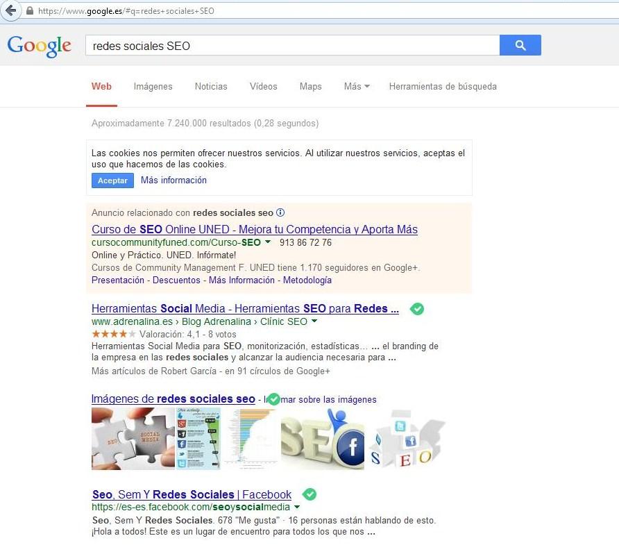 Resultados búsqueda Google