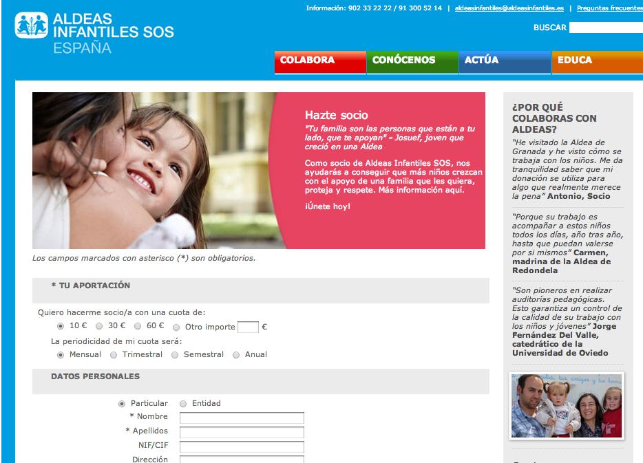 landing page fundraising aldeas infantiles