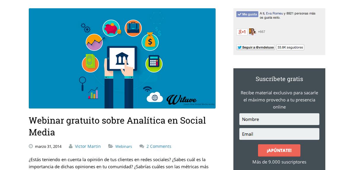 webinar gratuita, landing page