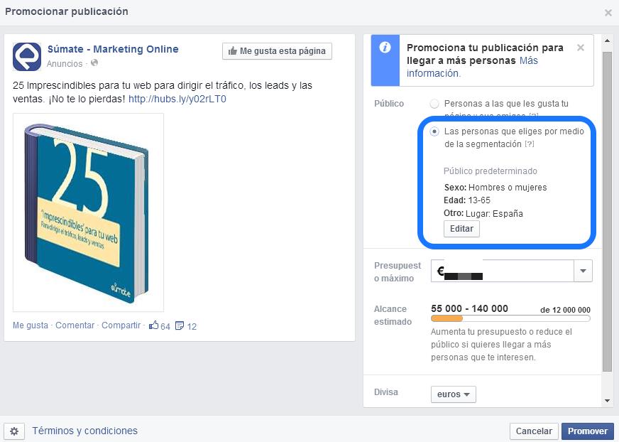 Publicaciones promocionadas Facebook segmentación