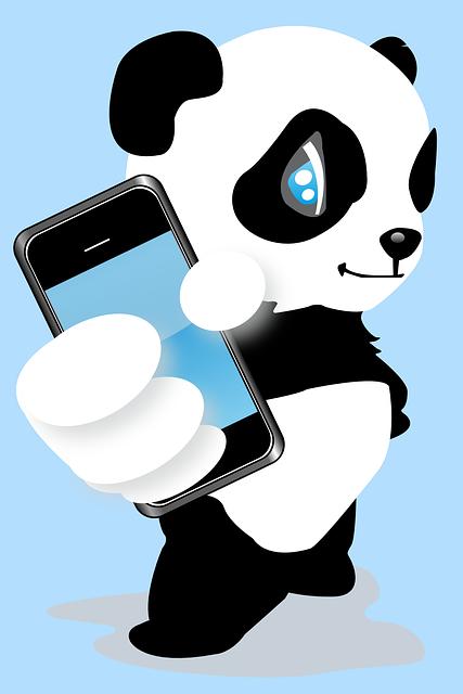 Panda con smartphone