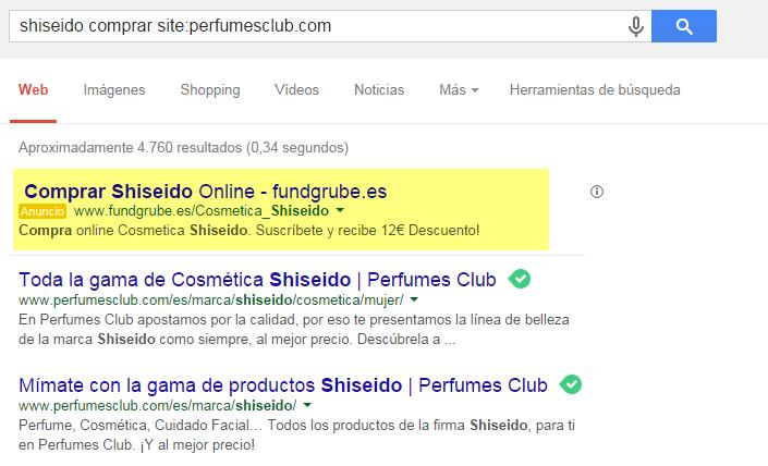 Caja de búsqueda interna Google resultados no deseados