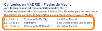 Resultado enriquecido Google conciertos