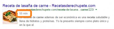 Resultado enriquecido Google recetas
