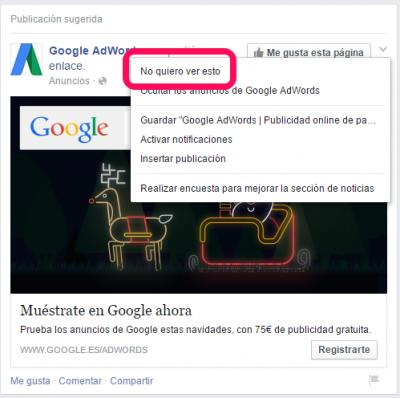 Facebook newsfeed opción no ver publicación