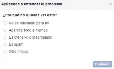 Facebook newsfeed opción por qué no quieres ver publicación