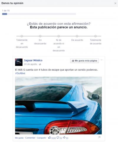 Facebook newsfeed pregunta encuesta