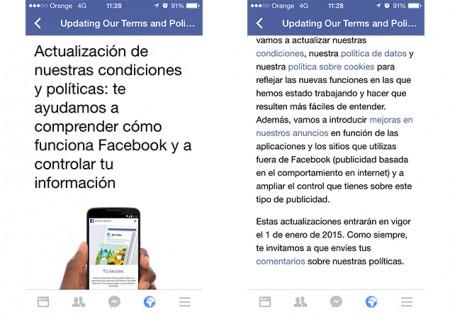 Actualización Facebook políticas 2015